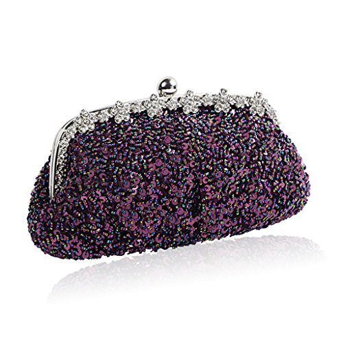 Bag Silver QJAIQQ Shoulder Full Diamond Purple Portable Sequins Evening Bag Retro Beaded Pearl Handbag Package qSzqFgw