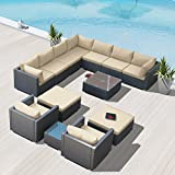 Modenzi G13-U Outdoor Sectional Patio Furniture Espresso Brown Wicker Sofa Set (Light Beige)