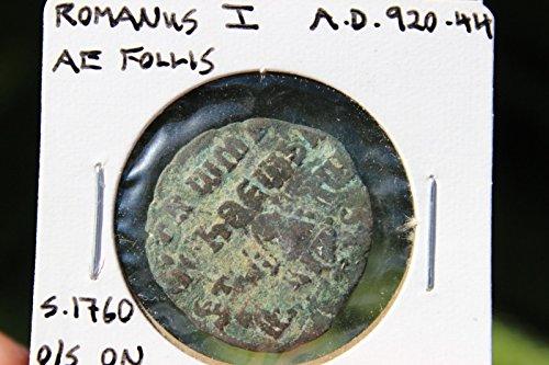 Byzantine bronze coin AE follis 40 numm, Romanus I, 920-944 AD of Leo VI, Byzant