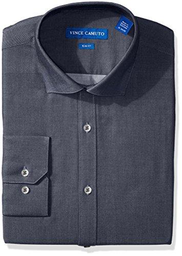 Vince Camuto Men's Slim Fit Denim Dress Shirt, Blue, 17 34/35 by Vince Camuto