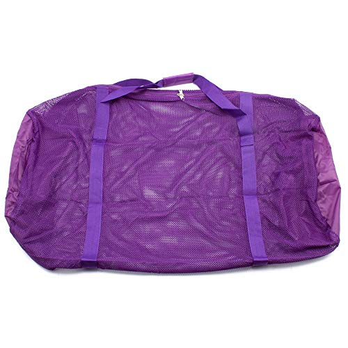 Heavy-Duty Mesh Duffle Bag. Great for Sports Equipment, Scuba Diving, Snorkeling, Swimming and More (Purple)