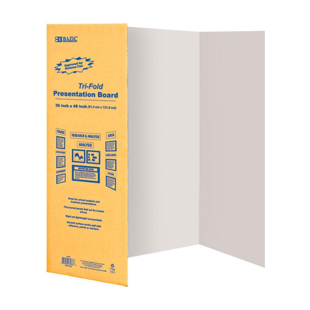 BAZIC 36'' X 48'' White Tri-Fold Corrugated Presentation Board (Case of 24)