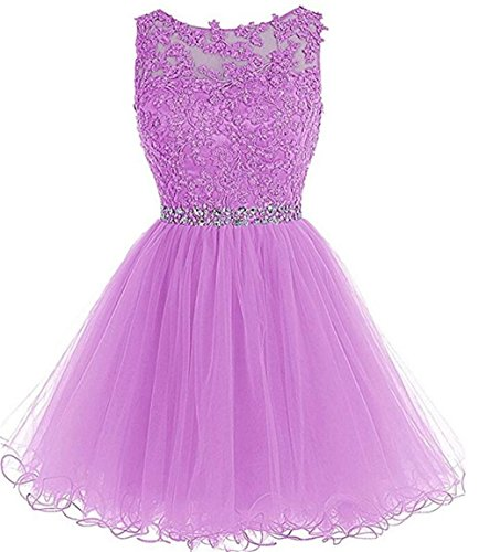 Prom Dress Homecoming Dresses Beaded Appliques Party Cocktail D126 Lilac 16 ()
