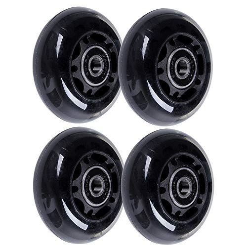 AOWISH 4-Pack Inline Skate Wheels 64mm 85A Rollerblade Replacement Wheel with Bearings ABEC-9 for Kids and Teens Adjustable Hockey Inline Roller Skates and More (Black)