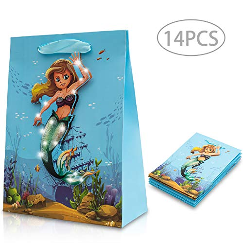 Mermaid Party Gift Bags Childrens Favor Sets with 3D Pattern Glitter Treat Goodie Paper Bag for Kids Birthday Baby Shower Wedding Under The Sea-maid Themed Decorations and Supplies, Pack of 14 Blue