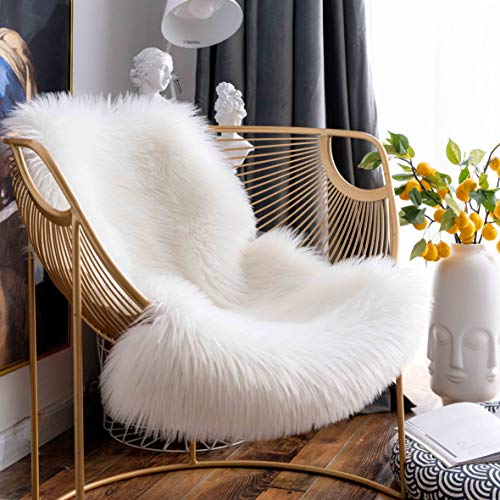- Dotteen Super Soft Premium Faux Sheepskin Fur Sofa Chair Cover Plush Seat Cushion Pad Shaggy Area Rugs for Bedroom Floor, 2ft x 3ft, White
