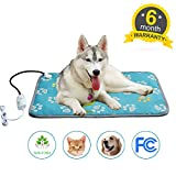 Heated Dog Bed Heating Pad For Cats Pet Bed Warmer Electric Waterproof Adjustable For Large Dogs Cats With Chew resistant Steel Footprint Blue