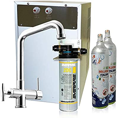 Purificador agua enfriador carbonatador con Everpure de bajo fregadero-Agua gasata refrigerata-Rub. 4VÃas-2kg CO2: Amazon.es: Bricolaje y herramientas