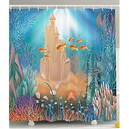Kids Shower Curtain Nursery Decor By Ambesonne, Fairy Sand Castle  Underwater Dream World Sea Star Seashell Modern Art Tropical Fish  Decorations For Bathroom ...