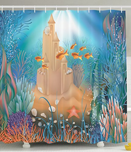 Gold Turquoise Coral - Kids Shower Curtain Nursery Decor by Ambesonne, Fairy Sand Castle Underwater Dream World Sea Star Seashell Modern Art Tropical Fish Decorations for Bathroom Blue Aqua Turquoise Gold Khaki Purple Coral