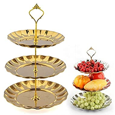 GkGk® 3-Tier Stainless Steel Plates Stand Fruits Cakes Desserts Candy Buffet Stand for Wedding &Home&Party(Gold) (3 Tier, Gold)