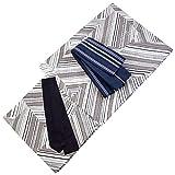 Mens Cotton Yukata Obi Sash 3item set Summer Kimono White Gray Stripe L size