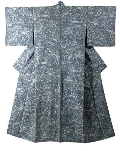 リサイクル 着物 紬 茶屋辻模様 正絹 袷 裄67.5cm 身丈168cm