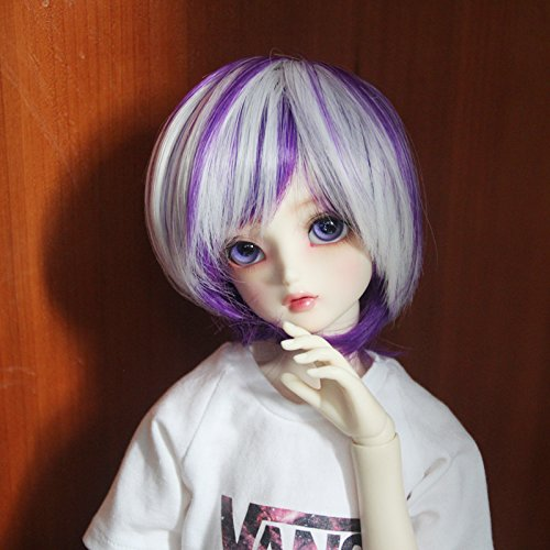 9-10 inch 1/3 SD BJD Doll Wig High Temperature Synthetic Fiber Purple White Short Bob Straight Boy Man Hair Wig BJD Doll Wigs for 1/3 1/4 1/6 BJD SD Doll (HTY1215C)