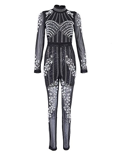Tina Beauty Mock Neck Long Sleeve Beading Pearls Mesh One Piece Jumpsuit Romper Large-Black by Tina Beauty