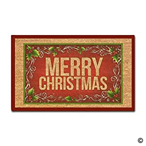 msmr Custom Felpudo feliz decoración de Navidad Felpudo para interiores/al aire libre Felpudo (18cm, de 30, tela no tejida antideslizante