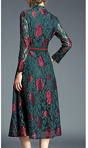 Cocktail Women YL42611 Sleeve Green Party Hollow Midi Long Dress Lace Solid Evening DISSA cSap8WW