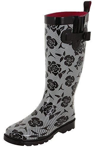Capelli New York Ladies Shiny Tall Rubber Rain Boots Black Combo