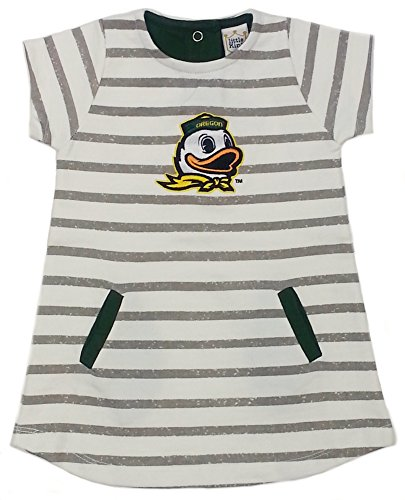 - Little King NCAA Oregon Ducks Striped Dress with Team Color Trim, 2T, Ivory
