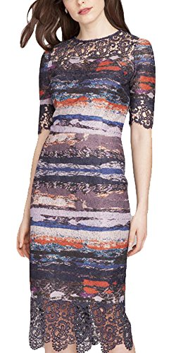 Teri Jon Print Dress with Lace Trim (4)