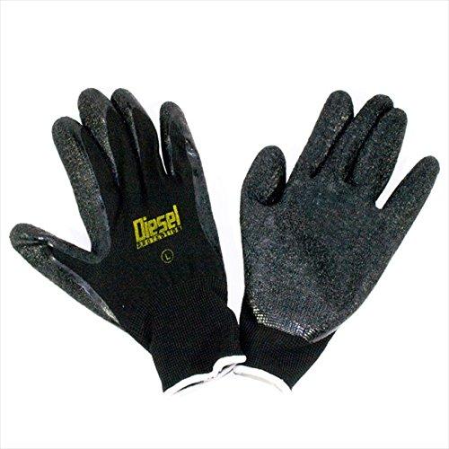 Medium/ 6 Pair Diesel Black Safety Gloves Latex Coated Grip Cut Resistant by Diesel (Image #2)