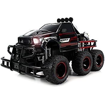 Velocity Toys Speed Spark 6x6 Electric RC Monster Truck Big 1:12 Scale RTR w/ Working Headlights, Dual Rear Wheels (Colors May Vary)