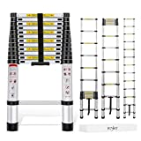Yesker 12.5ft Telescoping Ladder Aluminum Telescopic Extension Multi Purpose Ladders EN131 Certified - Extendable with Spring Load Locking Mechanism Non-Slip - 330 lb Max Capacity