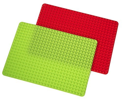 Silicone Pyramid Baking Mat and Dog Treat Maker Non-stick Healthy Cooking 16 inch x 11.5 inch set of 2 red and green
