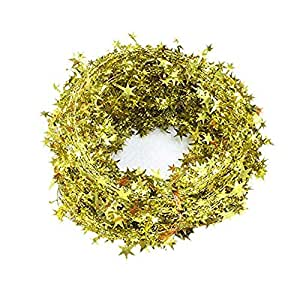 7.5m Star Tinsel Garlands with Wire Christmas tree Party Decoration Festive Ornament, Silver Gold