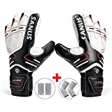 Youth&Adult Goalie Goalkeeper Gloves,Strong Grip for The Toughest Saves, With Finger Spines to Give Splendid Protection to Prevent Injuries,Free 1 Pair of Wristband&Elbow Pads,3 Colors (Black, 5)