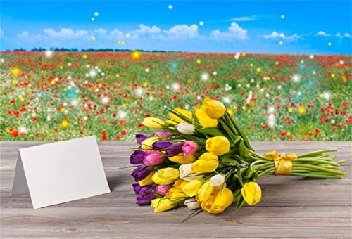 (Leyiyi 7x5ft Photography Background Happy Valentine's Day Backdrop Wedding Ceremony Flora Tulip Plantation Post Card Flora Blossom Bouquet Wood Table Lay Flat Marriage Photo Portrait Vinyl Studio Prop)