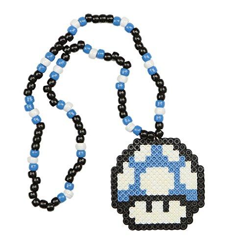 Super Mario Blue Mushroom Kandi Necklace, Perler Necklace, Rave Accessories, Beaded Necklaces