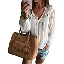 TOPUNDER Women Long Sleeve Chiffon Lace Crochet Blouse T Shirt Tops