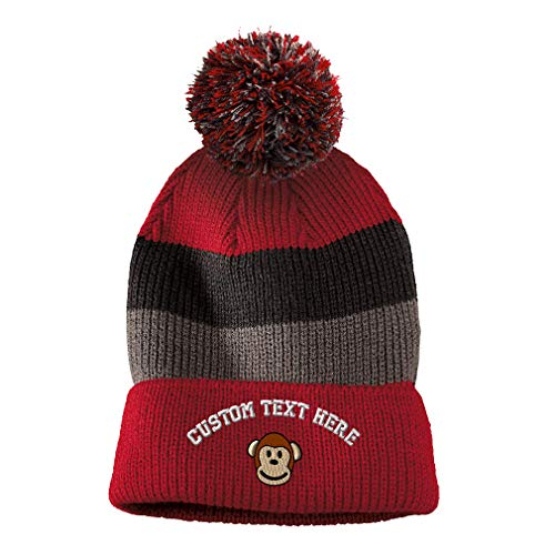 Custom Text Embroidered Cute Monkey Face Unisex Adult Acrylic Vintage Striped Removable Pom Pom Beanie Skully Hat - Red/Black/Grey Stripes (Red Monkey Striped)