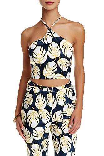 Missguided Womens Blue Leaf Print Crop Top in Navy Size - Missguided Top
