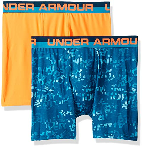 Under Armour Boys 2 Pack Performance Boxer Briefs, Teal/Orange YLG by Under Armour (Image #1)