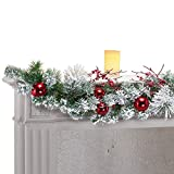 Collections Etc Wintery Pine Snowy Christmas Garland Deal (Small Image)