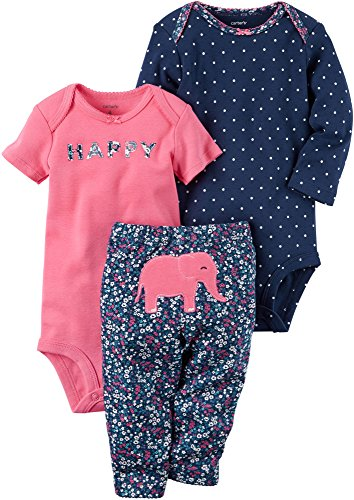 Carter's Baby Girls' 3 Piece Elephant Set 3 Months Pink ()