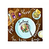 DIYthinker Salad Cheese Figs France Restaurant Anti-slip Floor Pet Mat Square Bathroom Living Room Kitchen Door 60/50cm Gift