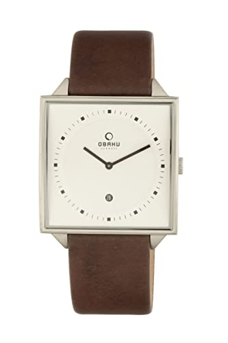 Obaku Men s V116UCIRN Square Brown Leather Date Watch