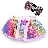 Yansion Sequin Tutu Skirt Tutu Tulle Dress Girls Kids Baby Mermaid Princess Tutu Dress with Sequin Bracelets Tutu Skirt Princess for Dance wear Birthday Party Daily Wear Taking Photos Ballet(M)