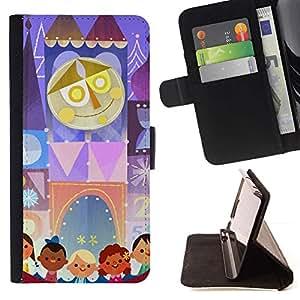For HTC One Mini 2 M8 MINI Case , Dibujo Niños Madre Circo- la tarjeta de Crédito Slots PU Funda de cuero Monedero caso cubierta de piel