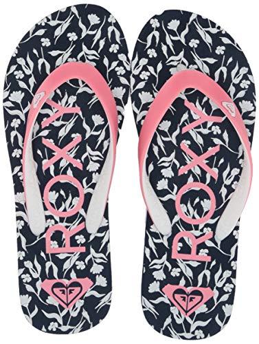 Roxy Girl's RG Tahiti Flip-Flop Sandal,blue/pink print,12 Medium Youth US Big Kid