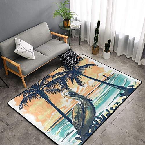 Jingclor Pelican Sunset Artistic Painting Area Rugs, Bedroom Living Room Kitchen Mat, Non-Slip Floor Mat Doormats Nursery Rugs, Children Play Throw Rugs Carpet Yoga Mat