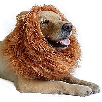 Lamzoom Peluca de León Grande para Mascotas, para Perro, Navidad, Halloween, Fiesta