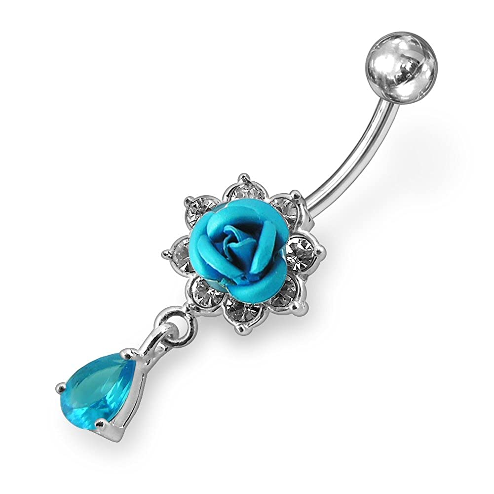 AtoZ Piercing Fancy Rose Flower Dangling 925 Sterling Silver with Stainless Steel Belly Button Rings