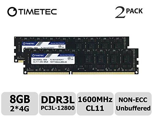(Timetec Hynix IC 8GB Kit (2x4GB) DDR3L 1600MHz PC3L-12800 Non ECC Unbuffered 1.35V/1.5V CL11 2Rx8 Dual Rank 240 Pin UDIMM Desktop PC Computer Memory Ram Module Upgrade (8GB Kit (2x4GB)))