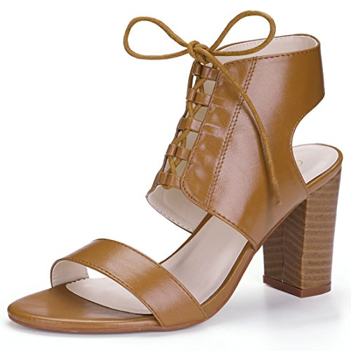 Allegra K Women's Stacked High Heel Lace up Sandal Brown