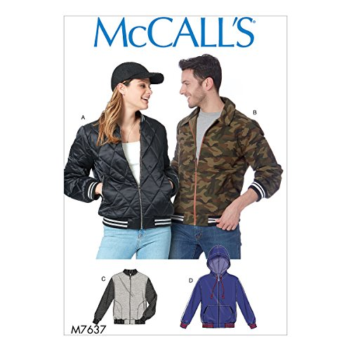 McCall Patterns M7637 XM Misses' and Men's Bomber Jackets Sewing Pattern, Size SML-MED-LRG (7637) ()