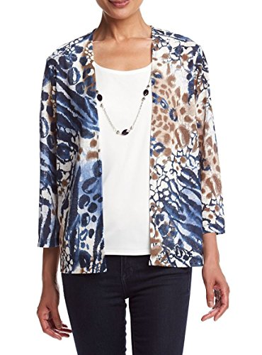 Alfred Dunner Womens Shell (Animal Print Layered Look Knit Top Blouse Sweater (Medium, Animal)